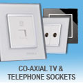 illucio Designer Glass Sockets - Co-Axial TV and Telephone