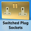 Screwless Brushed Brass - 13 Amp Plug Sockets