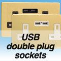 Screwless Brushed Brass - USB Plug Socket