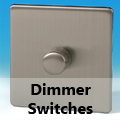 Screwless Brushed Matt Chrome - Standard Dimmer Switches