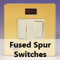 Screwless Polished Brass - 13 Amp Fused Spur Switches